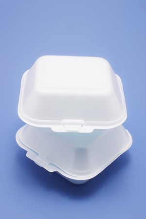 disposable: Polystyrene Food Boxes on Blue Background