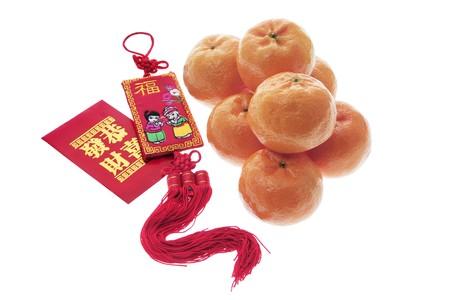 Chinese New Year Decorations on White Background photo