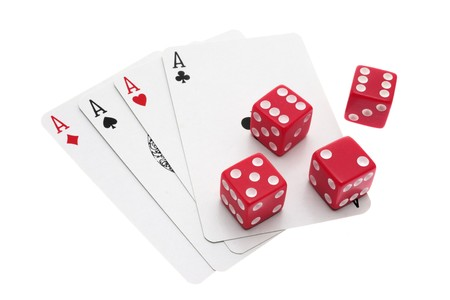 Dice and Ace Cards on White Background photo