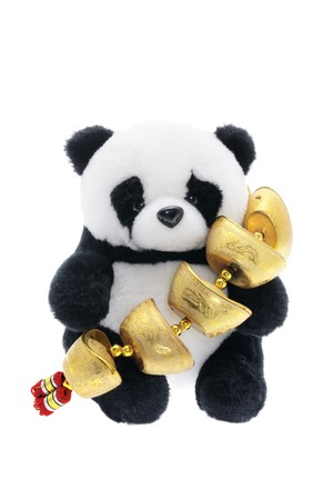 Toy Panda with Chinese New Year Trinket on White Background Stock Photo - 4172355