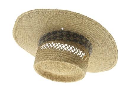 sunburned: Straw Hat on Isolated White Background