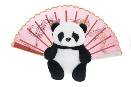 cuteness: Toy Panda and Chinese Paper Fan on White Background