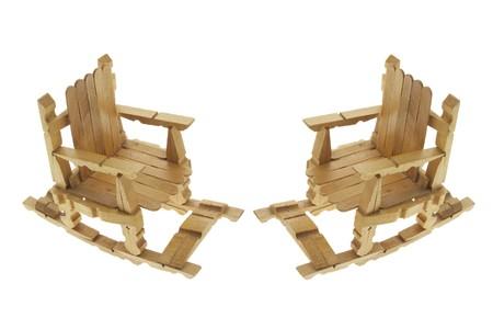 Miniature Rocking Chairs on White Background Stock Photo - 4285339