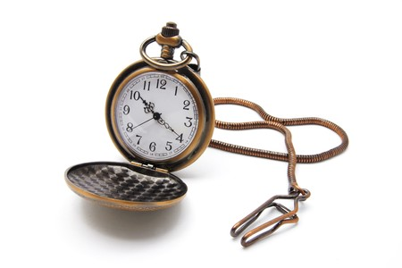 knock out: Pocket Watch on Isolated White Background Stock Photo