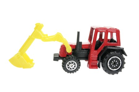 earth mover: Miniature Plastic Earth Mover on White Background Stock Photo