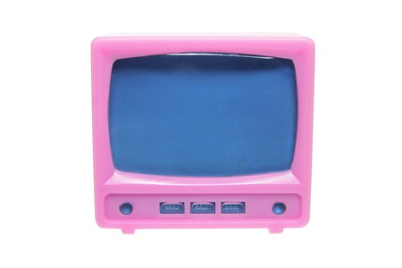 telly: Plastic Miniature TV Set on White Background Stock Photo