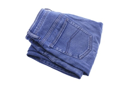 white pants: Pair of Folded Denim Jeans on White Background Stock Photo