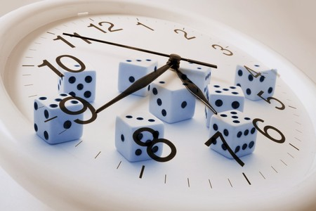 timely: Composite of Clock and Dice
