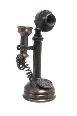 retro phone: Antique Telephone on Isolated White Background