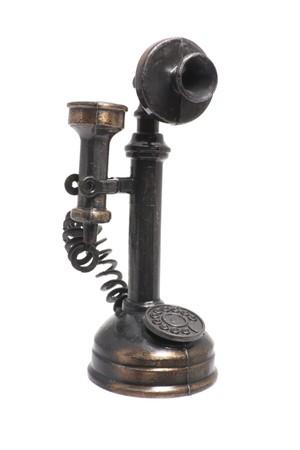 antique telephone: Antique Telephone on Isolated White Background