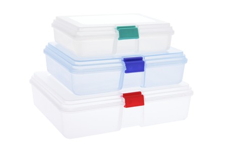 tupperware: Stack of Plastic Boxes on White Background Stock Photo