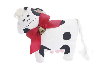 soft toy: Cow Soft Toy on Isolated White Background
