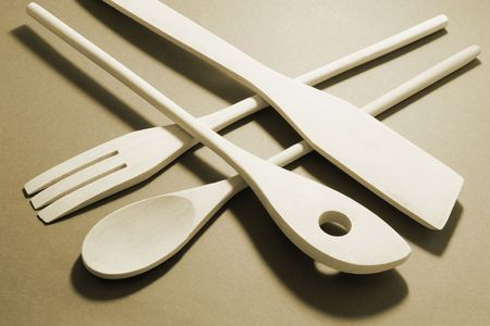 ustensiles de cuisine: Ustensiles de cuisine en bois en Warm Tone