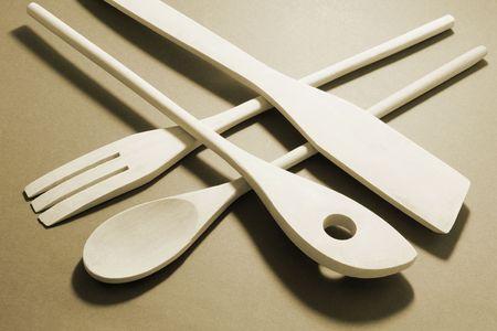 kitchenware: Wooden Kitchen Utensils in Warm Tone
