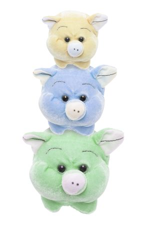 cuteness: Soft Toy Pigs on Isolated White Background