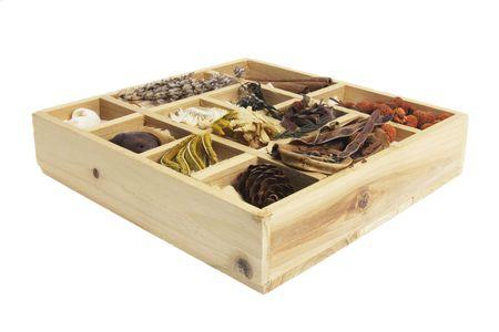 Box of Potpourri on White Background photo