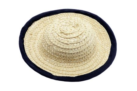 Straw Hat on Isolated White Background photo