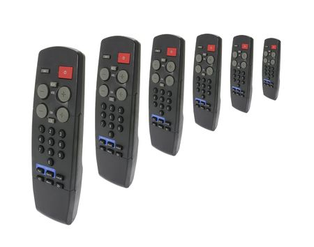 remote controls: Remote Controls on Isolated White Background Stock Photo