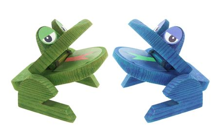 Wooden Frogs on Isolated White Background Stock Photo - 4716692