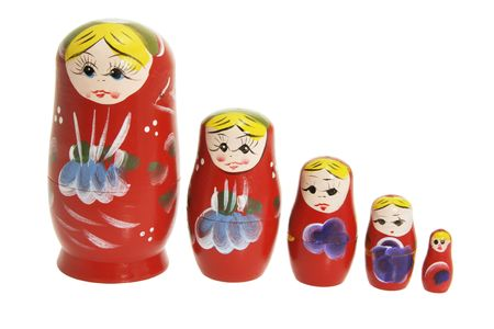Russian Nesting Dolls on White Background Stock Photo - 4716660