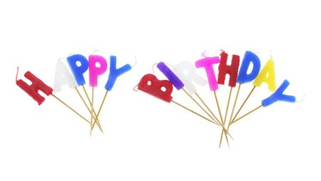 Happy Birthday Candles on Isolated White Background Stock Photo - 4746571