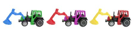 Miniature Plastic Earth Movers on White Background Stock Photo - 4746591