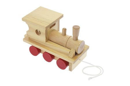 Wooden Toy Train on Isolated White Background photo