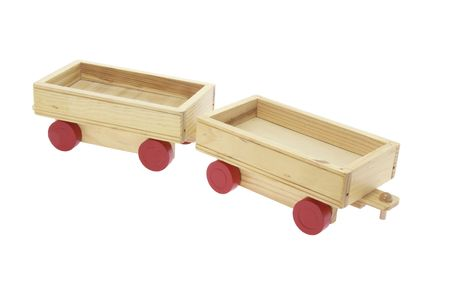 Wooden Toy Carts on Isolated White Background Stock Photo - 4746502