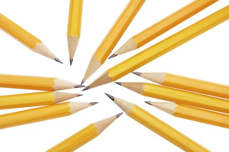 writing implements: Close Up of Pencils on Plain Background Stock Photo