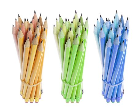 Bundles of Pencils on White Background photo