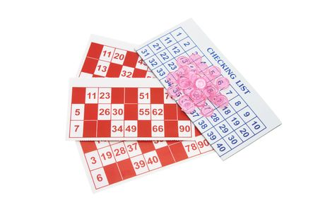 Bingo Forms and Gaming Chips on White Background photo