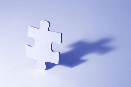 compatibility: Jigsaw Puzzle in Blue Tone on Seamless Background Stock Photo