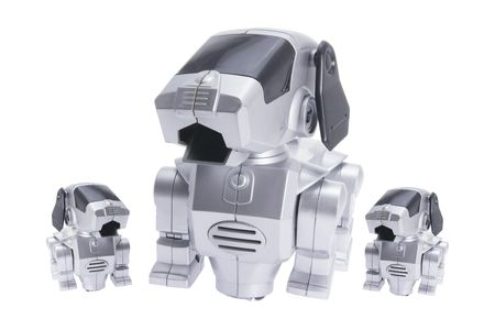 Toy Robot Dogs on Isolated White Background photo