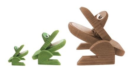 Wooden Frogs on White Background Stock Photo - 4806856