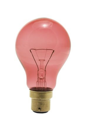 incandescence: Red Light Bulb on Isolated White Background