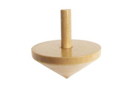 trompo de madera: Comienzo de la p�gina de madera sobre fondo blanco aisladas