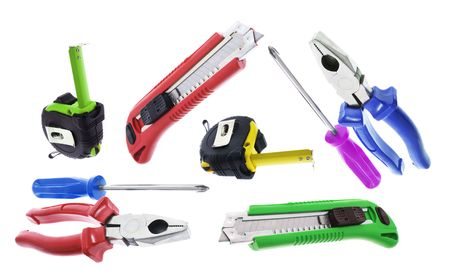 plies: Hand Tools on Isolated White Background Stock Photo