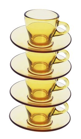Stack of Tea Cups and Saucers on White background Stock Photo - 4838910
