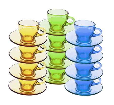 Stacks of Tea Cups and Saucers on White Background Stock Photo - 4838900