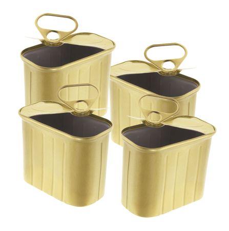 tin cans: Lege ring-Pull Tin blikken over alleenstaande witte achtergrond Stockfoto