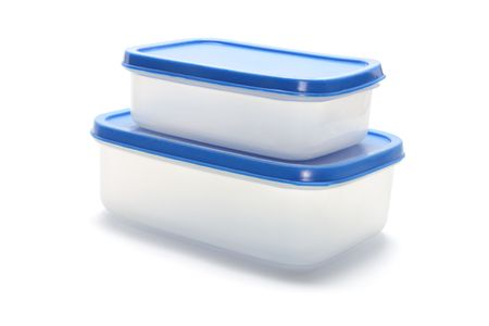 homeware: Plastic Containers on Isolated White Background