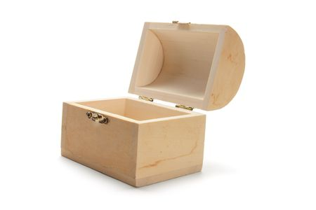 wooden lid: Miniature Wooden Treasure Box on White Background Stock Photo