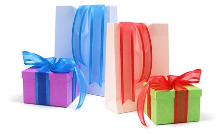 paperbags: Gift Boxes and Shopping Bags on Isolated White Background