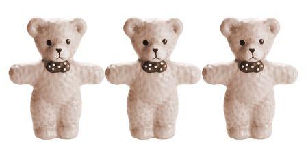 teddy bears: Ositos de peluche sobre la porcelana blanca de antecedentes aislados Foto de archivo
