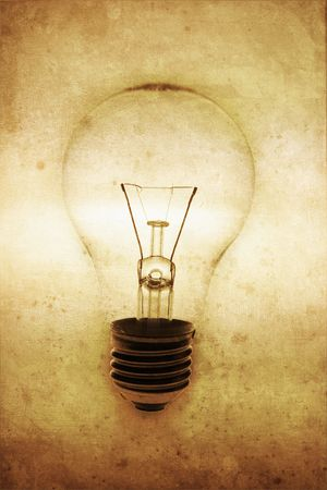 incandescence: Warm Tone Light Bulb in Grunge Style