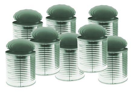tin cans: Lege blikjes op Geïsoleerde Witte Achtergrond Stockfoto