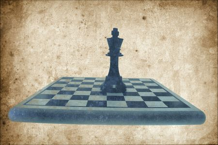 King Chess Piece on Chess Board in Grunge Style photo