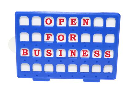Open for Business Sign on Isolated White Background photo