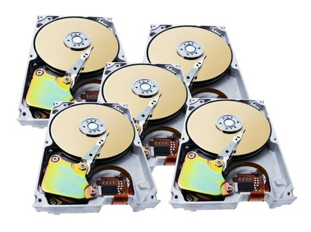 Computer Hard Disks on White Background photo