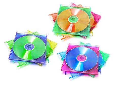 Stack of CDs in Plastic Cases on White Background photo